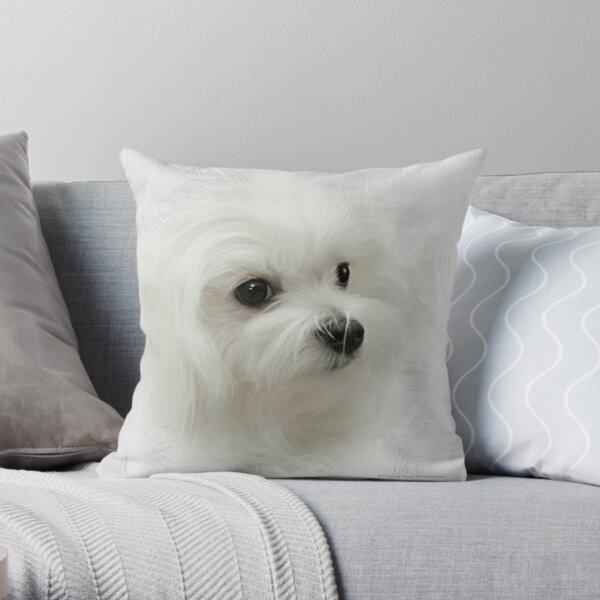 Hermes the Maltese Throw Pillow