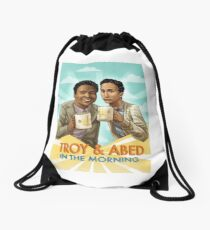 troy and abed in the morning Drawstring Bag