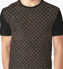 SCALES1 BLACK MARBLE & DULL BROWN LEATHER (R) Graphic T-Shirt