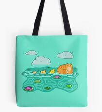 Mama Cat and her Ducklings Tote Bag