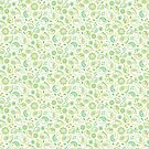 «Hedgehog Paisley_Green and White» de miavaldez