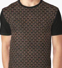 SCALES3 BLACK MARBLE & DULL BROWN LEATHER (R) Graphic T-Shirt
