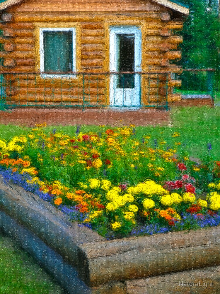 Stylized photo of a log cabin Lodge, flowers, and grounds along Chena River in Fairbanks, AK by NaturaLight