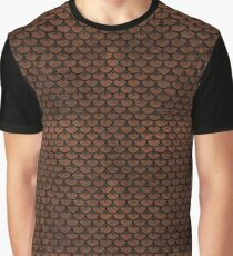 SCALES3 BLACK MARBLE & DULL BROWN LEATHER Graphic T-Shirt