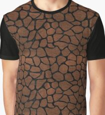 SKIN1 BLACK MARBLE & DULL BROWN LEATHER (R) Graphic T-Shirt