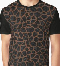 SKIN1 BLACK MARBLE & DULL BROWN LEATHER Graphic T-Shirt