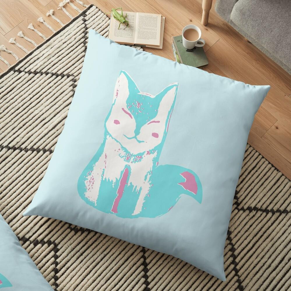 Icy Blue Fox Floor Pillow