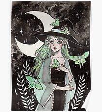 Luna moth witch Poster