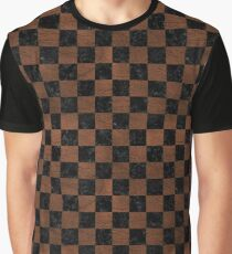 SQUARE1 BLACK MARBLE & DULL BROWN LEATHER Graphic T-Shirt