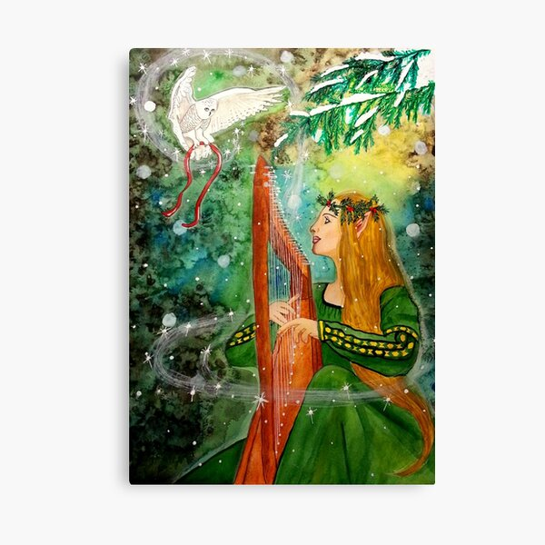 Gifts Given, Gifts Returned - Elf Maiden Harp Player and Owl Friend Canvas Print