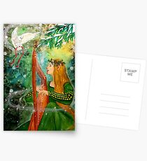 Gifts Given, Gifts Returned - Elf Maiden Harp Player and Owl Friend Postcards