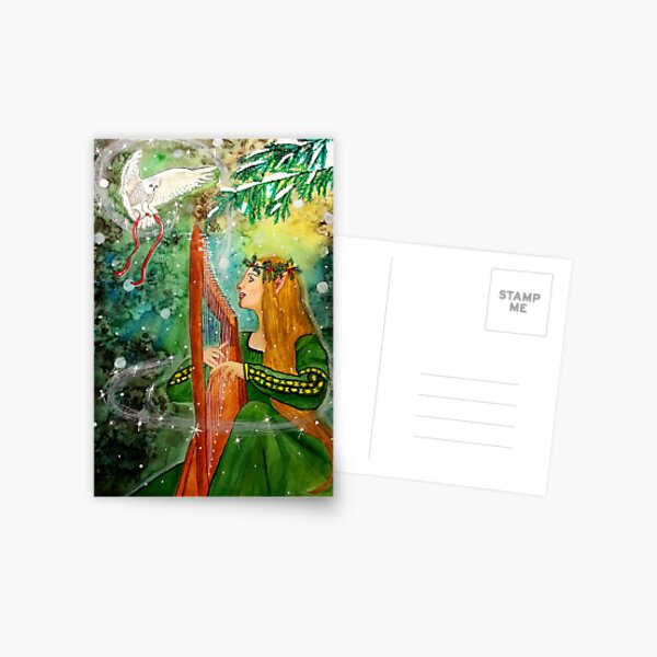Gifts Given, Gifts Returned - Elf Maiden Harp Player and Owl Friend Postcard
