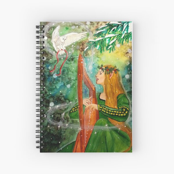 Gifts Given, Gifts Returned - Elf Maiden Harp Player and Owl Friend Spiral Notebook