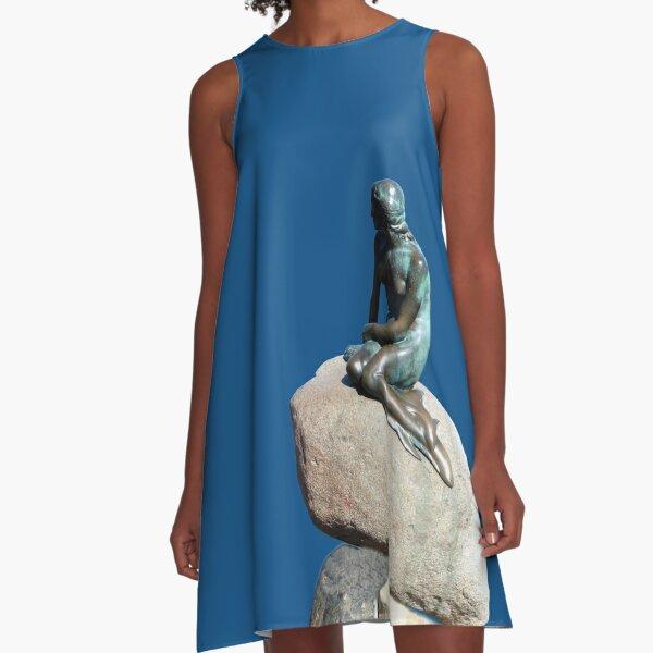 Little Mermaid Statue in Copenhagen A-Line Dress