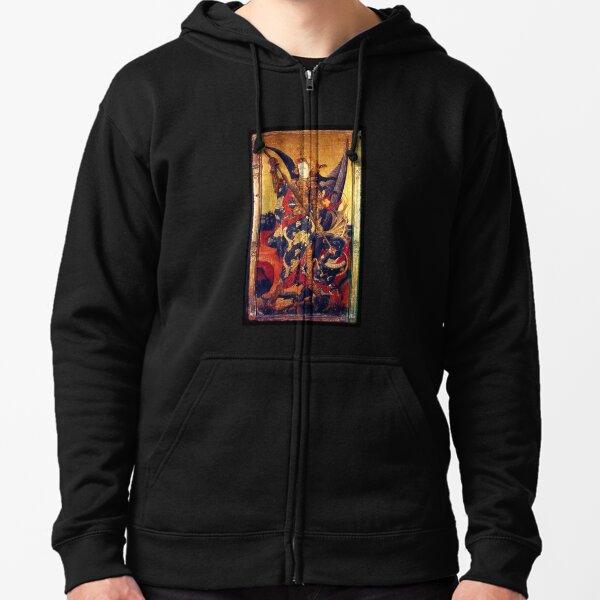Saint Michael Archangel Vanquishing the Devil as Medieval Knight Zipped Hoodie