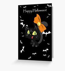 """Happy Halloween"" Orange Bow Black Cat Greeting Card"