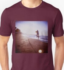 Boy running on beach square Lubitel lomo lomographic lomography medium format  color film analogue photo T-Shirt