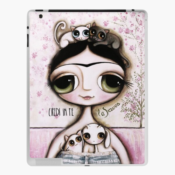 The doll black hair and green eyes with animals cat and Lamb iPad Skin