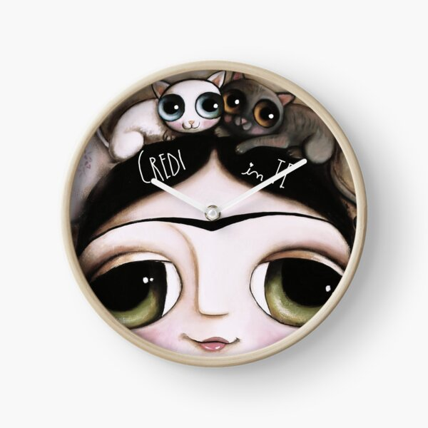 The doll black hair and green eyes with animals cat and Lamb Clock