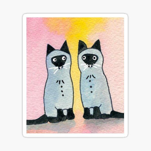 Twin Siamese Cats watercolor Sticker