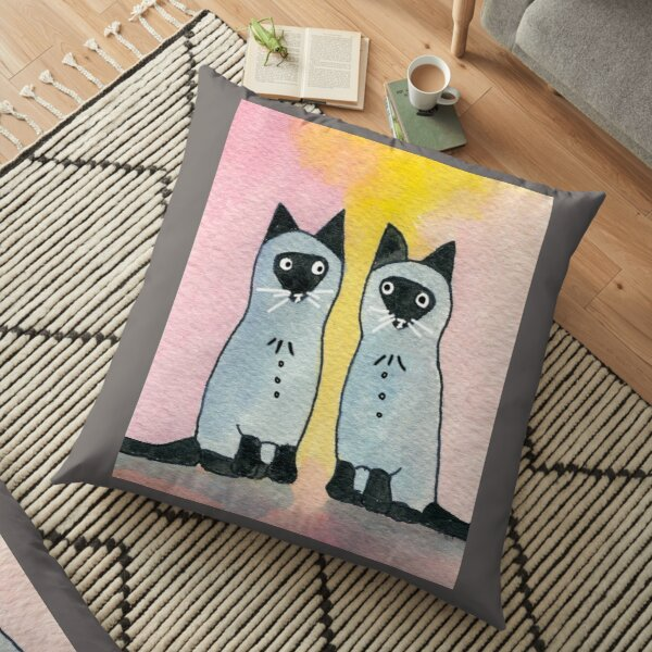 Twin Siamese Cats watercolor Floor Pillow
