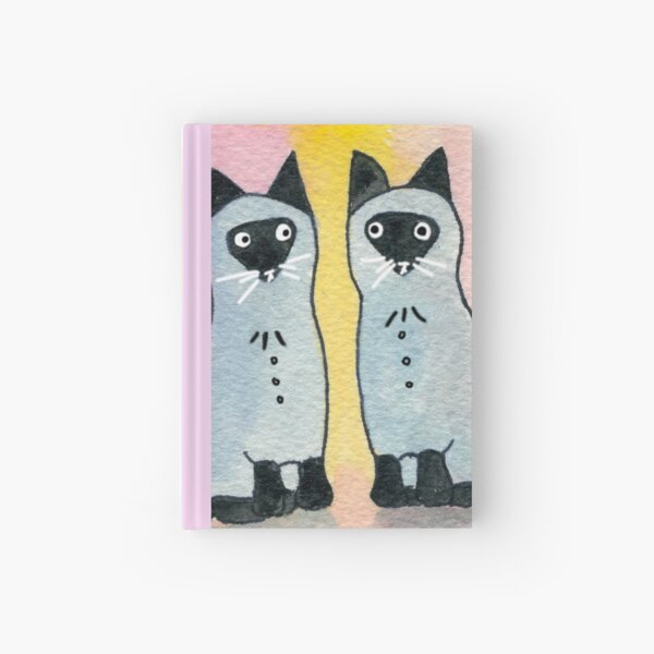 Twin Siamese Cats watercolor Hardcover Journal