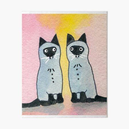 Twin Siamese Cats watercolor Art Board Print