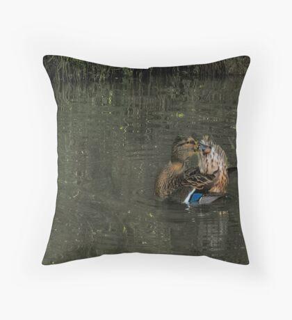 duck preening Throw Pillow