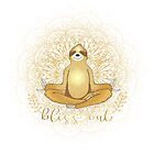 Meditating Golden Sloth Mandala Bliss Out by jitterfly