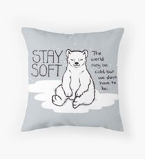 """Stay Soft"" Polar Bear Throw Pillow"
