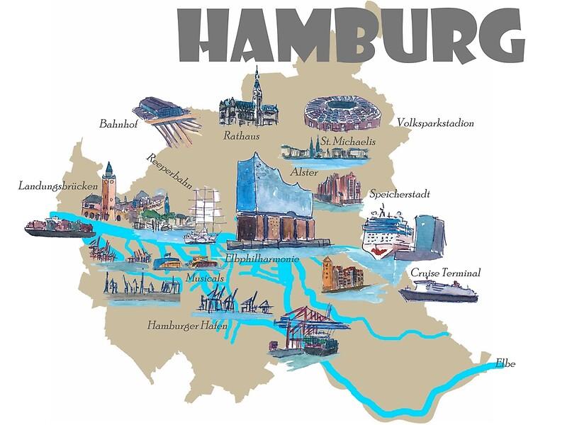 Hamburg Karte Sehenswurdigkeiten.Hamburg Highlights Sehenswurdigkeiten Karte Kunstdruck