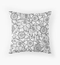 Linear Floral Pattern  Throw Pillow