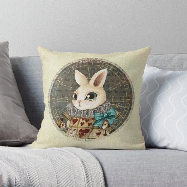 The Herald White Rabbit Throw Pillow