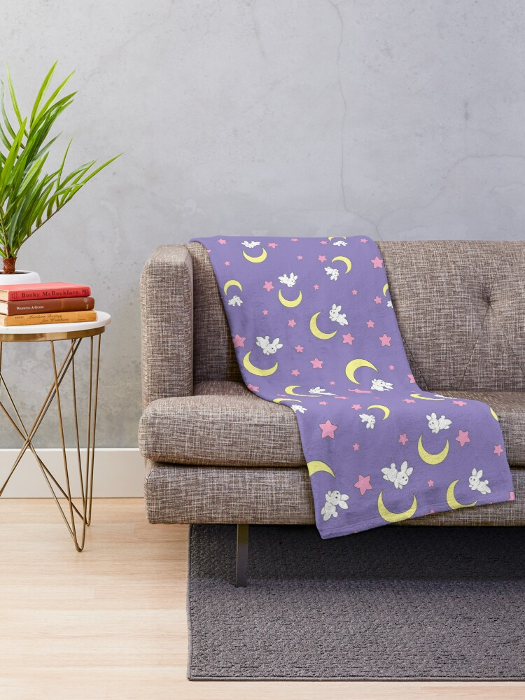 Alternate view of Rabbit of the Moon Throw Blanket