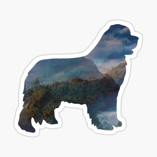 Newfoundland Dog Silhouette Fantasy Sticker