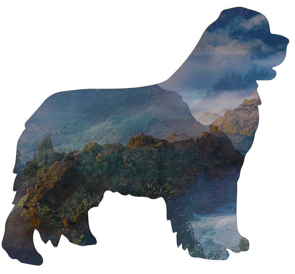 Newfoundland Dog Silhouette Fantasy by Christine Mullis