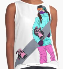 Snowboarder girl in mountain Contrast Tank