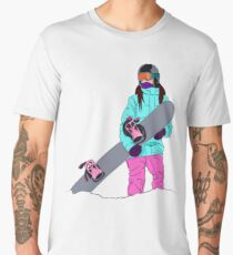 Snowboarder girl in mountain Men's Premium T-Shirt