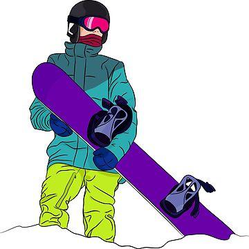 Snowboarder man with snowboard by TorriPhoto