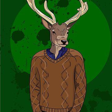 Anthropomorphic hipster deer man print by TorriPhoto