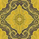 Golden flowers, floral pattern, bohemian arabesque, yellow and brown by clipsocallipso