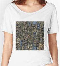 vintage psychedelic drawing and sketching abstract background in blue and brown Women's Relaxed Fit T-Shirt
