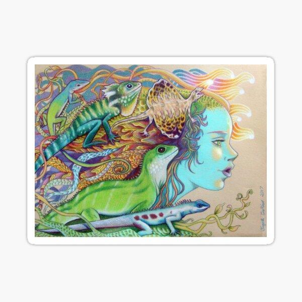 A Tangle Of Lizards, Lizard Art Sticker