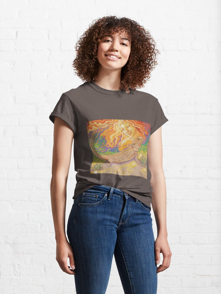Alternate view of The Sun And The Dragon, Bearded Dragon Art Classic T-Shirt