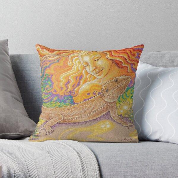 The Sun And The Dragon, Bearded Dragon Art Throw Pillow