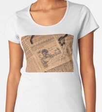 Collaged Patchwork Of Vintage Music Magazine Pages  Women's Premium T-Shirt
