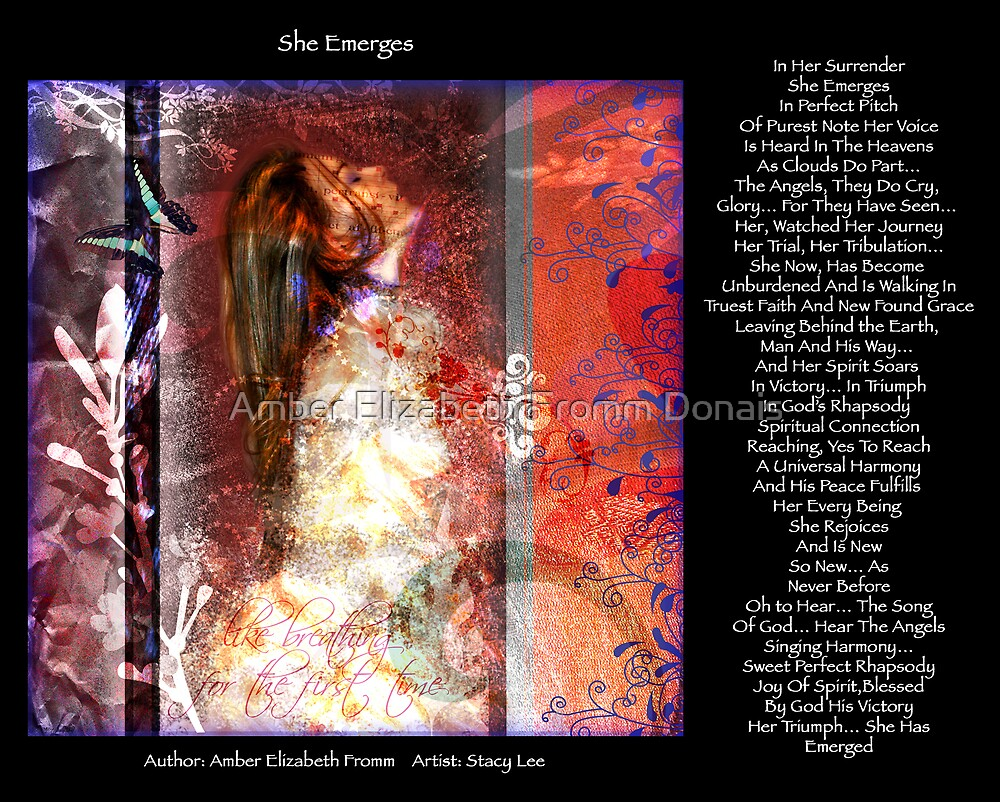 She Emerges Version 3  by Amber Elizabeth Fromm Donais