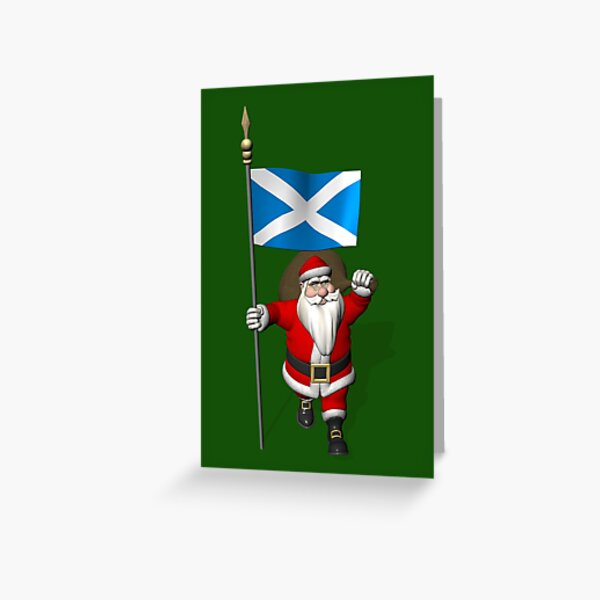 Santa Claus With Flag Of Scotland Greeting Card