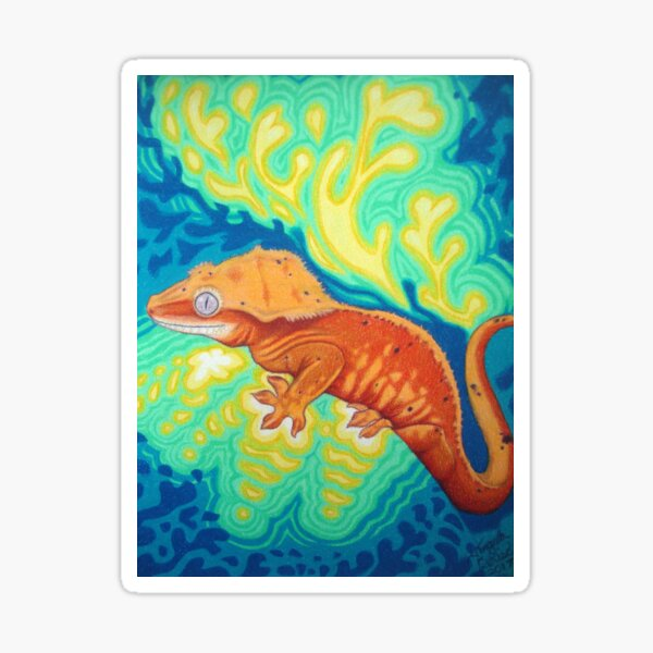 Red Crested Gecko Art  Sticker