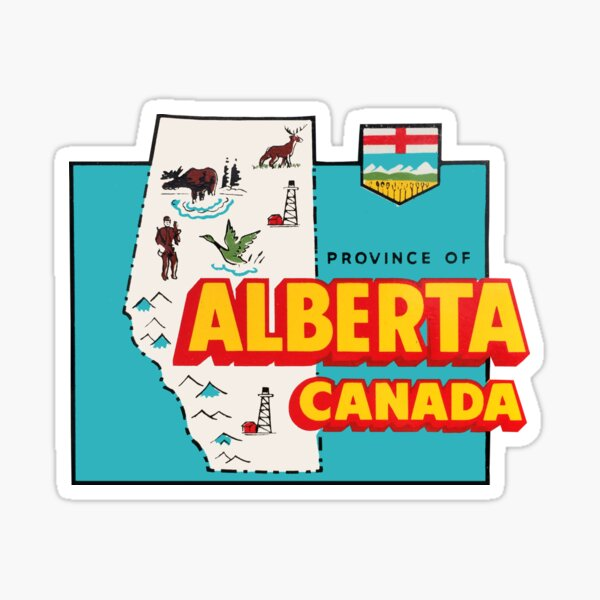 Alberta Map Vintage Travel Decal Sticker